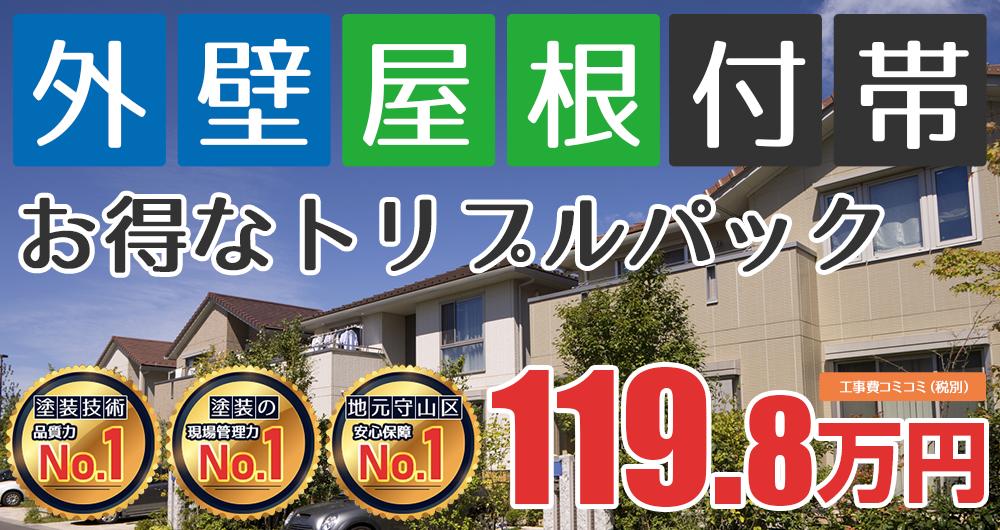 お得な外壁屋根塗装Wパック塗装 119.80万円(税込131.78万円)